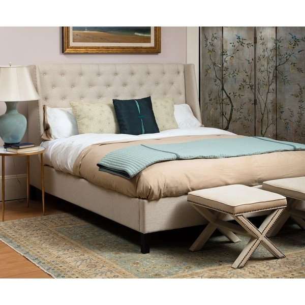 Safavieh Couture High Line Collection Miguel Beige Linen Queen Bed 17208134