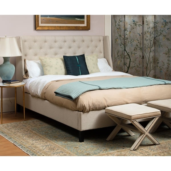 Safavieh Couture High Line Collection Miguel Tufted Beige Linen Bed (Queen) 17208134