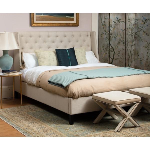 Safavieh Couture Collection Miguel Beige Linen Queen Bed 17208134