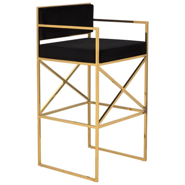 Safavieh Couture Collection Kian Black/ Gold Brass Barstool