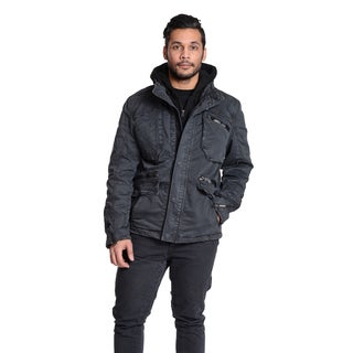 Excelled Men's Peached Cotton Hooded Jacket