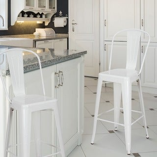 Adeco Tolix Style Metal Barstool With Back, set of two