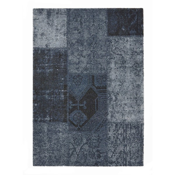 Somette Baxter Collection Denim Blue Abstract Area Rug (5.3' x 7.7')