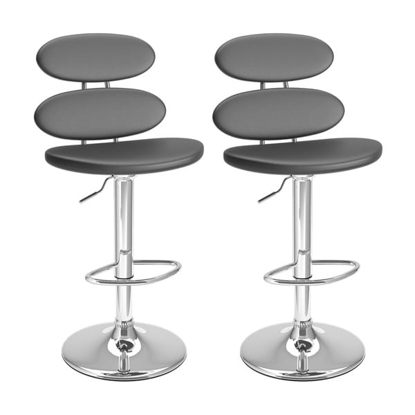 Ellipse Adjustable Barstool in Leatherette, set of 2