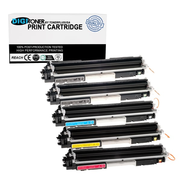 5pk Compatible HP 126a Kkcym Combo (ce310a Ce311a Ce312a Ce313a) 2-black, Cyan, Yellow, Magenta Replacement Toner Cartridge