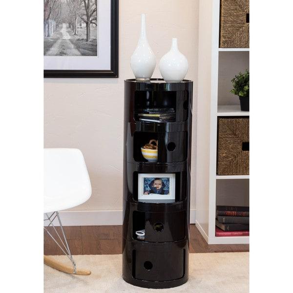 Somette Gavins Room Black 5-Compartment Storage Unit