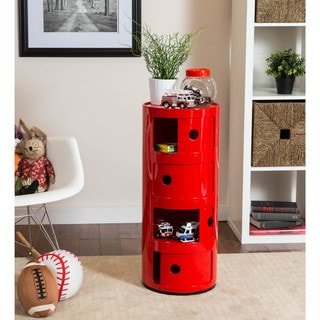Somette Gavins Room Red 4-Compartment Storage Unit