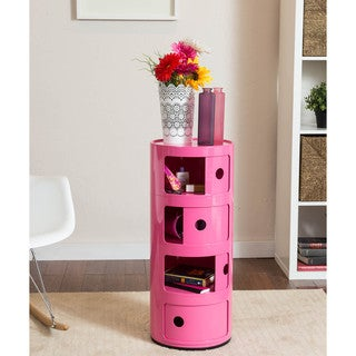 Somette Gavins Room Pink 4-Compartment Storage Unit