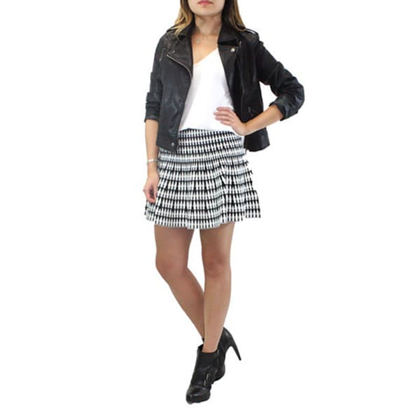 Relished Women's Lush Flared Black and White Sweater Skirt