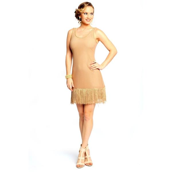 Sara Boo Women's Beige Lace Fringe Dress