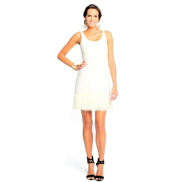 Sara Boo Women's White Lace Fringe Dress