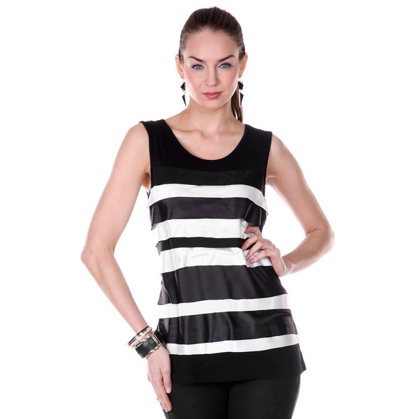 Firmiana Women's Sleeveless Black and White Striped Tunic