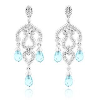 Luxurman 14k White Gold 2/5ct TDW Diamond and Blue Topaz Chandelier Earrings (G-H, SI1-SI2)