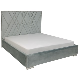 Safavieh Couture Collection Bermudez Light Blue/ Silver Velvet Queen Bed