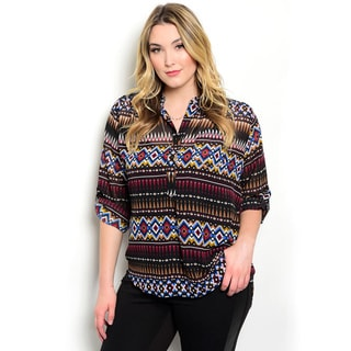 Shop the Trends Women's Plus Size 3/4 Sleeve Woven Multicolored Tribal Blouse