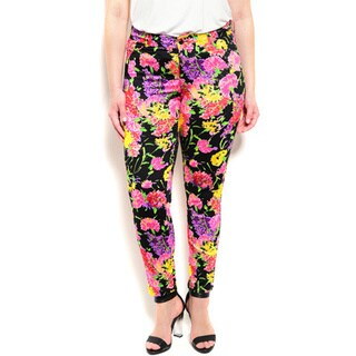 Shop the Trends Women's Plus Size Allover Floral Print Pants With Mid Rise Waist