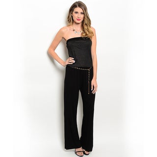Shop the Trends Women's Strapless Wide Legged Jumpsuit With Chain Belt