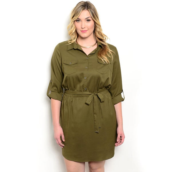 Shop the Trends Women's Plus Size 3/4 Sleeve Woven Shirt Dress With Double Chest Pockets