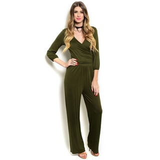 Shop the Trends Women's 3/4 Sleeve Wide Legged Jumpsuit With Wrapped V-Neckline