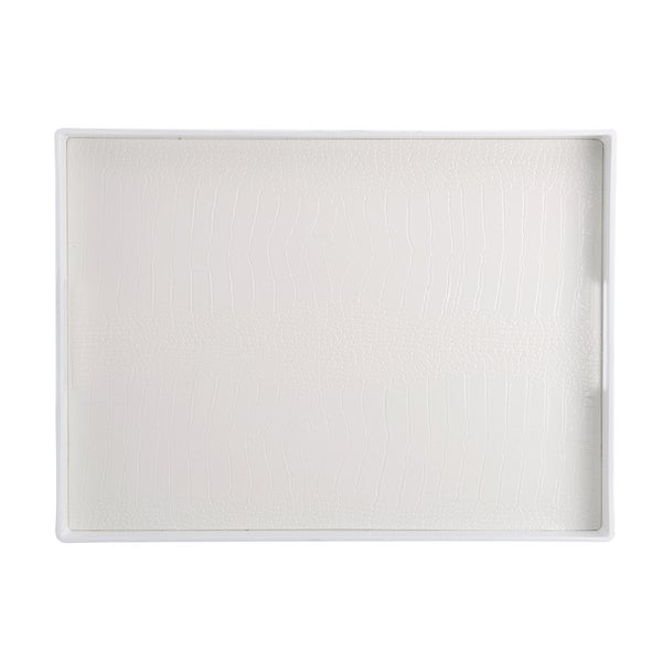 Elements 19x14 White Croc Plastic Serving Tray