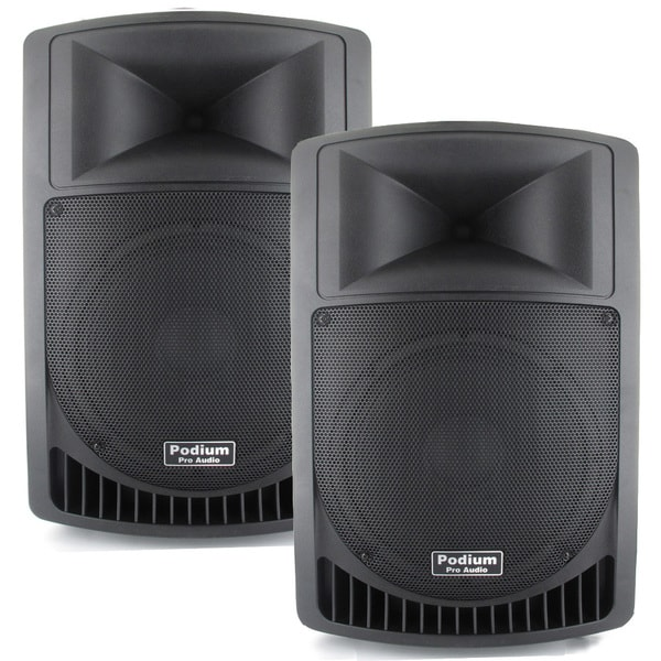 Podium Pro Audio PP1006A Battery Powered 10-inch Active Speaker Pair with USB SD MP3 Players 1000W PP1006A-PR