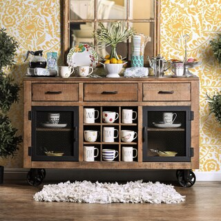 Furniture of America Matthias Industrial Rustic Pine Mobile Dining Buffet/Server