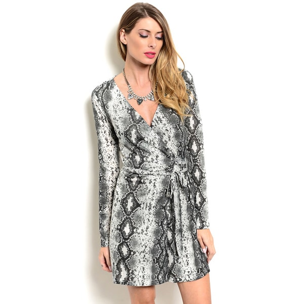 Shop the Trends Women's Allover Reptile Print Long Sleeve V-neck Wrap Dress