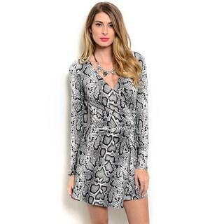 Shop the Trends Women's Long Sleeve Snake Print V-neck Wrap Dress