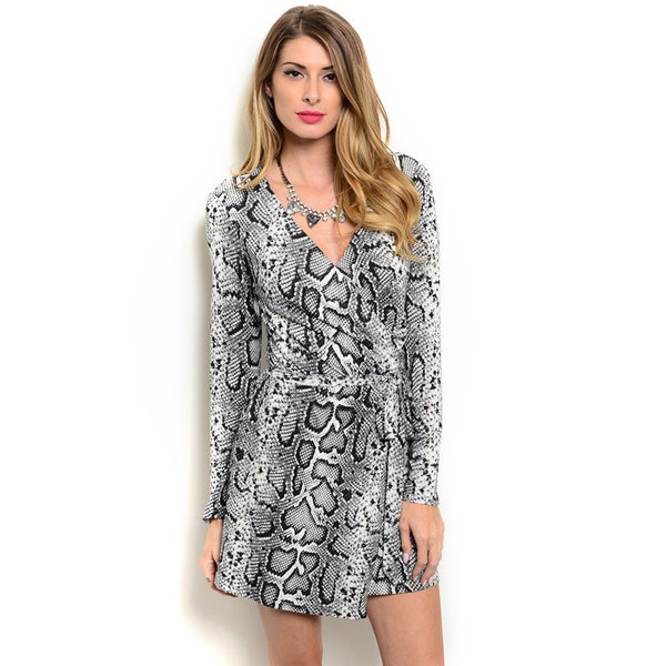 Shop the Trends Women's Long Sleeve Snake Print V-neck Wrap Dress