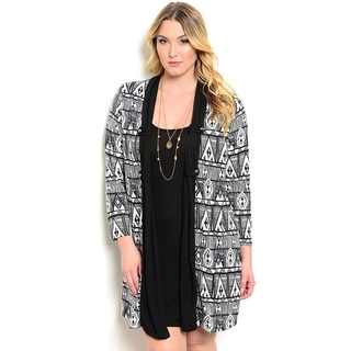 Shop the Trends Women's Plus Size Long Sleeve Two-In-One Dress With Attached Tribal Print Cardigan