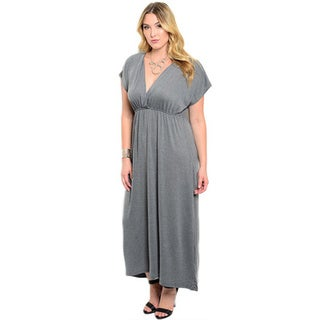 Shop the Trends Women's Plus Size Cap Sleeve Plunging Neckline Maxi Dress With Empire Cut Silhouette