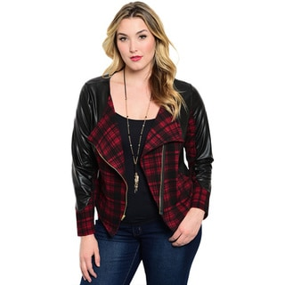 Shop the Trends Women's Plus Size Long Sleeve Plaid Leatherette Sleeves Jacket With Waterfall Lapel Zip Closure