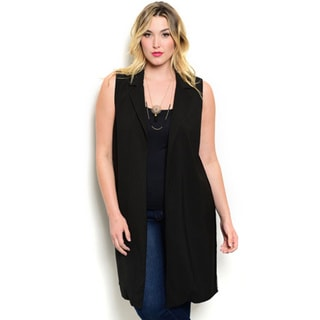 Shop the Trends Women's Plus Size Sleeveless Open Front Vest With Longline Hem