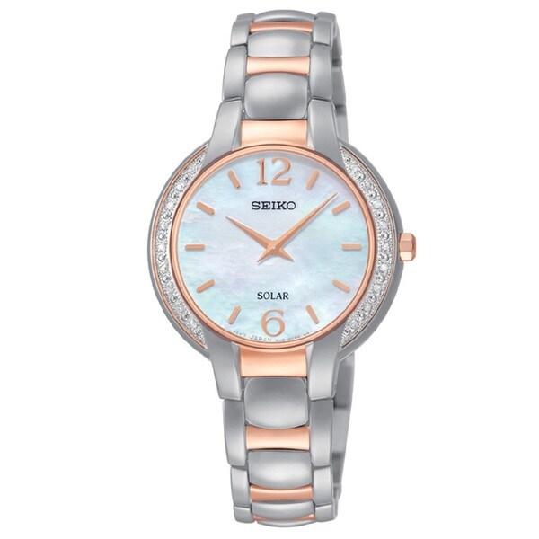 Seiko Ladies SUP256 Solar Stainless Steel Two Tone Rose and Silver Tone Diamond Watch