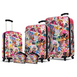 Jane Elissa by VisionAir Pink Fantasy 5-piece Fashion Hardside Spinner Luggage Set