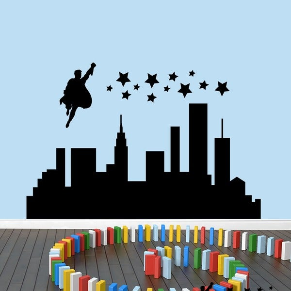 Superhero City Wall Decal 60 wide x 40-inch tall