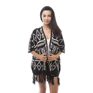 Soho Apparel Women's Tribal Fringed Cardigan Sweater