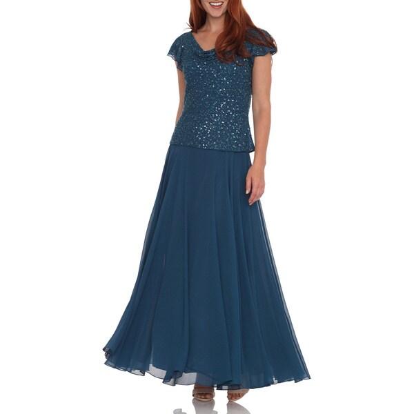 J Laxmi Women's Teal Beaded Cowl Neck Dress