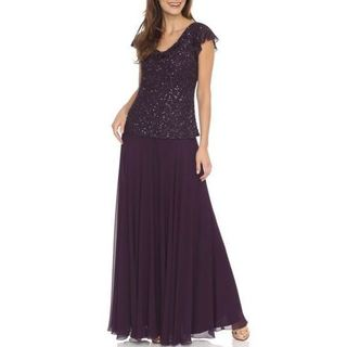 J Laxmi Women's Plum Sequin Flutter Sleeve Dress