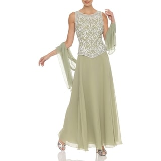 J Laxmi Women's Celery/Silver Embellished Chiffon Dress with Shawl