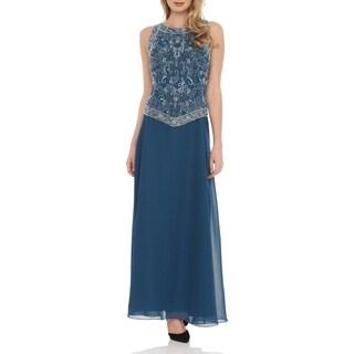 J Laxmi Women's Teal Embellished Dress and Shawl