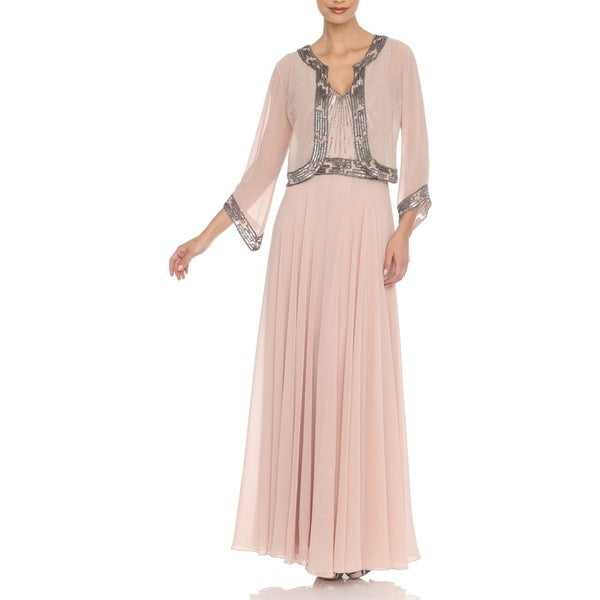 J Laxmi Women's Blush Embellished Dress with Jacket