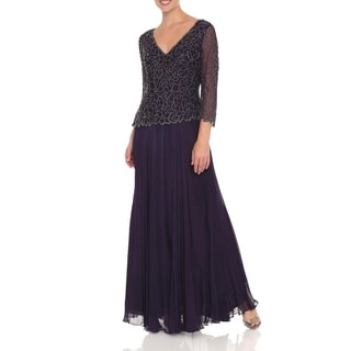 J Laxmi Women's Violet V-neck Floral Beaded Bodice Dress