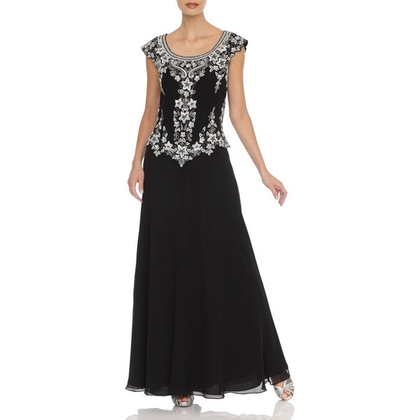 J Laxmi Women's Black Cap-Sleeve Embellished Bodice Dress (As Is Item)