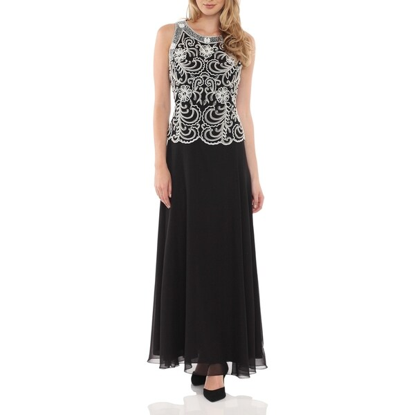 J Laxmi Women's Black Embellished Bodice A-Line Chiffon Dress with Scarf