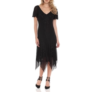 J Laxmi Women's Black Beaded Godet Dress