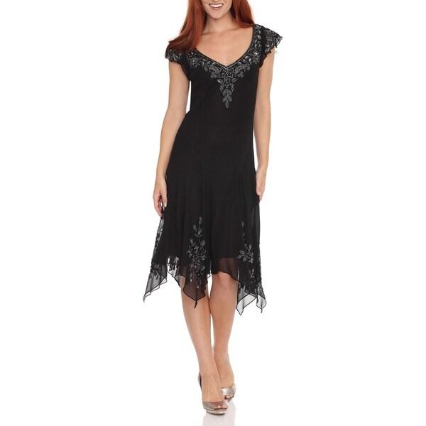 J Laxmi Women's Black Beaded Hanky Hem Dress