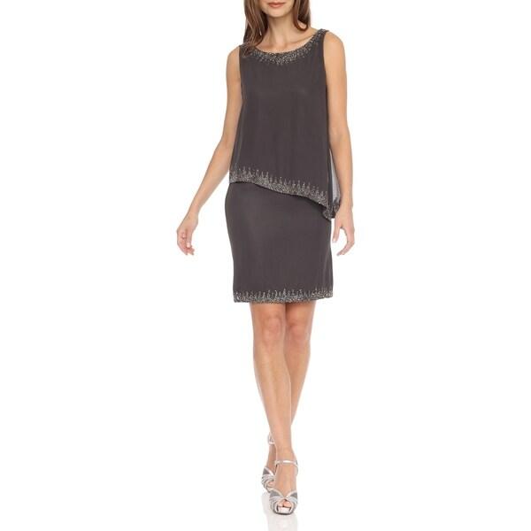 J Laxmi Women's Slate Popover Asymmetrical Bias Dress