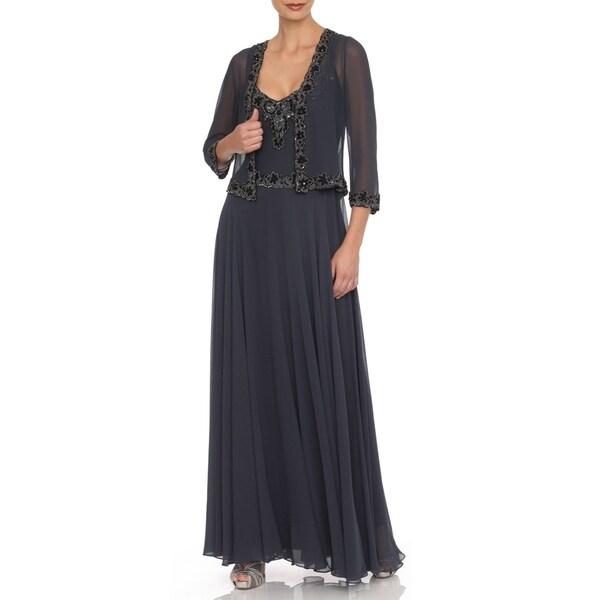 J Laxmi Women's Grey Beaded Chiffon Jacket Dress