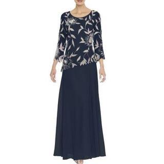 J Laxmi Women's Navy Floral Beads Three-Quarter Sleeve Dress